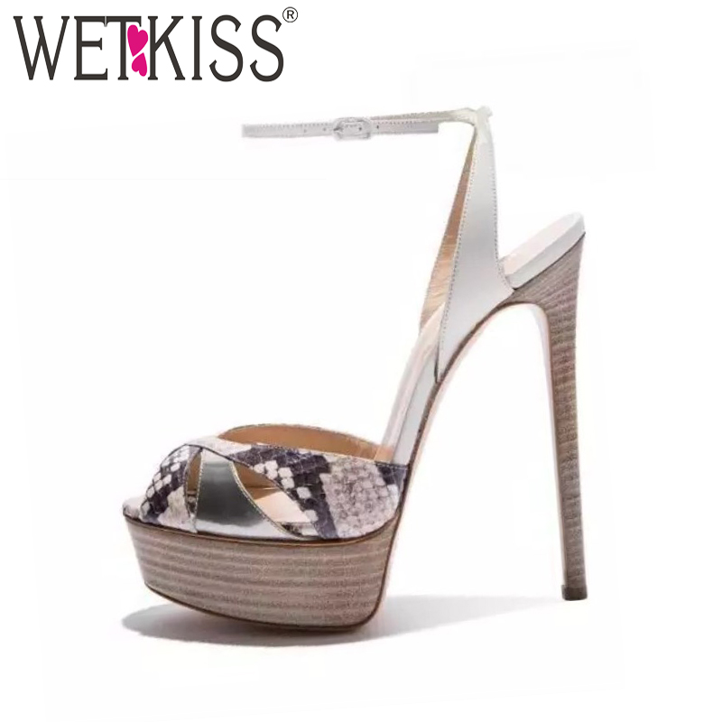 WETKISS 2018 Summer Super High Heels Women Sandals Ankle Strap Female Shoes Peep Toe Front Wood Heel Platform Printing Footwear wetkiss 2018 summer women sandals ankle strap platform shoes peep toe high heels cover heel ladies party footwear big size 50