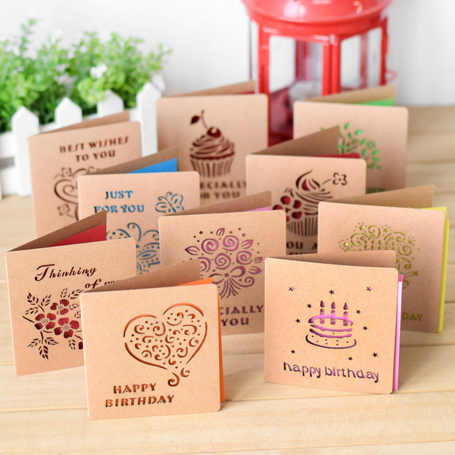 Party Laser Hollow Retro Kraft Paper Greeting Cards Birthday Card