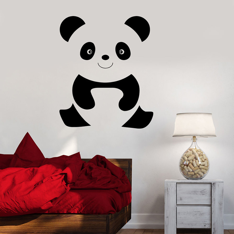 Panda Cartoon Wall Decals For Nursery Cute Animal Cheerful Baby Wall Sticker For Kids Room Art Mural Bedroomdecoration L450 ...