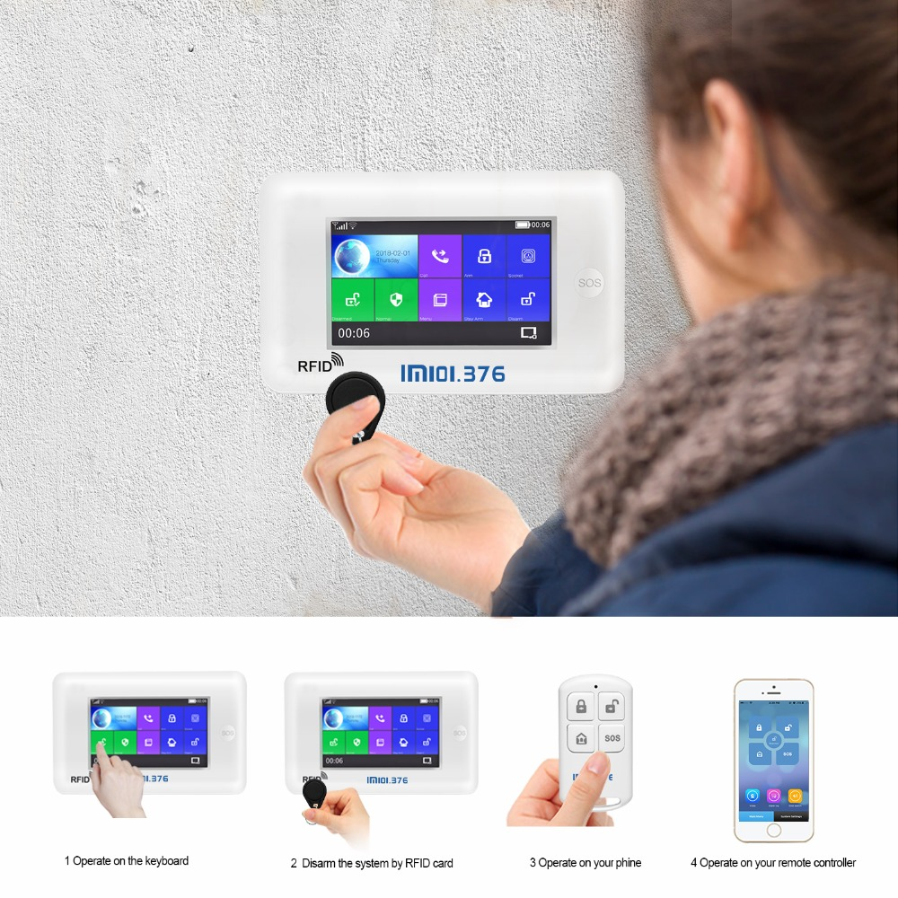 LM101 376 Wireless Home GSM WiFi Security Alarm System DIY Kit APP Control With Auto Dial Motion Detector Sensor Burglar alarm in Alarm System Kits from Security Protection