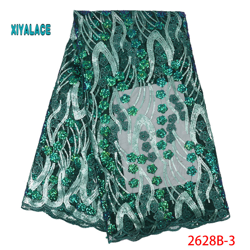 Green African Lace Fabric 2019 High Quality Nigerian Lace Fabrics Organza Sequins Embroidery French Tulle Lace Fabric YA2628B-3