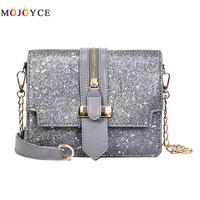 Famous Brand Women Glitter Sequins Handbags PU Leather Messenger Bag Ladies Crossbody Bag Chain Small Handbag
