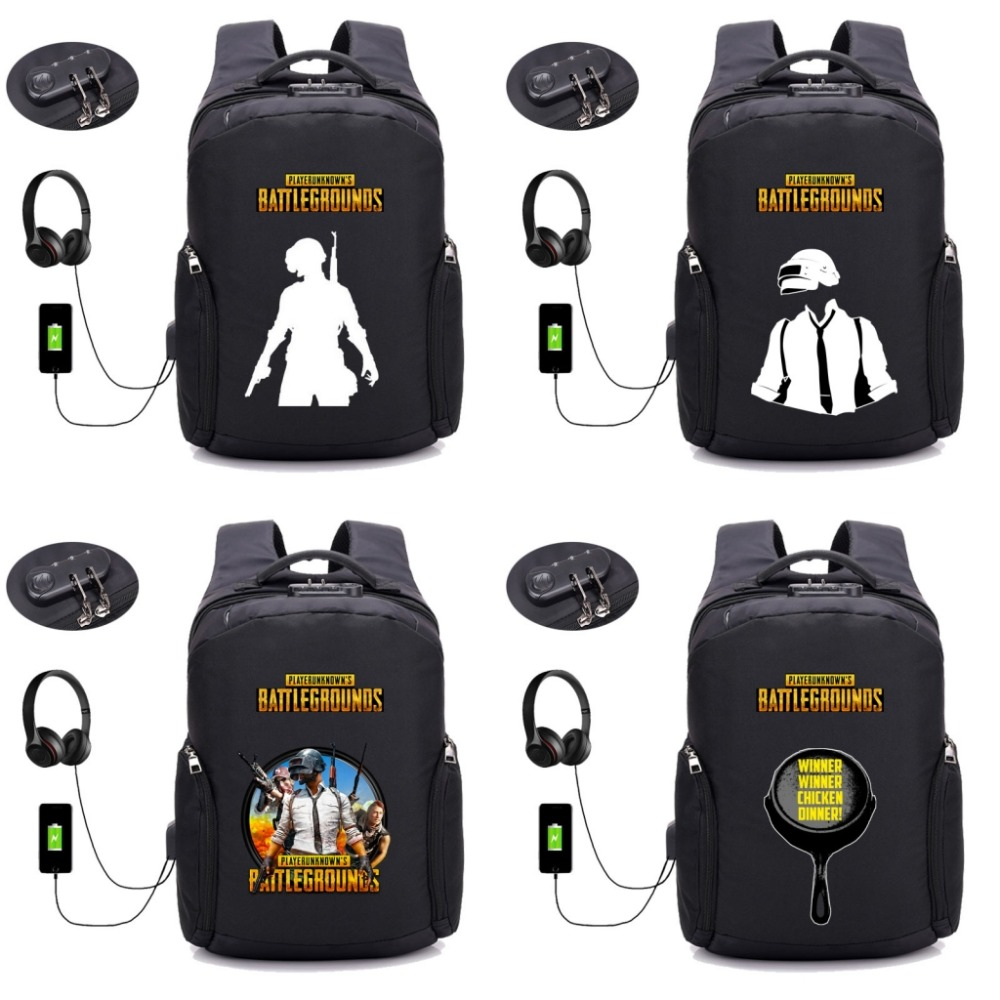 Game PUBG Player unknown's battlegrounds Backpack USB Charging student bookbag Teenagers Laptop Anti-theft backpack 16 style hot pc game player unknown s battlegrounds backpacks school bags pubg backpack gift for boyfriend game fans daily use nb197