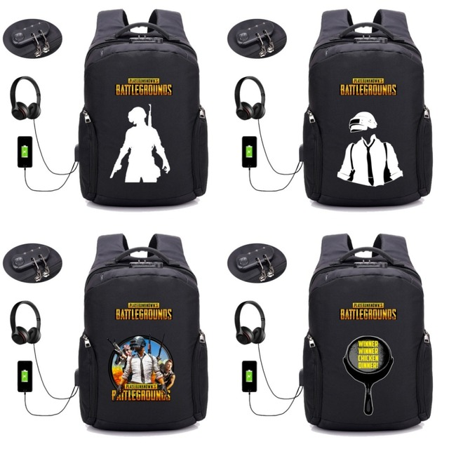 079f0d2d23 Game PUBG Player unknown's battlegrounds Backpack USB Charging student  bookbag Teenagers Laptop Anti-theft backpack 16 style