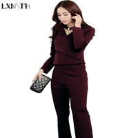 LXMSTH Ladies Suit Woman Clothing Set 2017 Fall Hollow Out Long Sleeve Top Pants Suits For