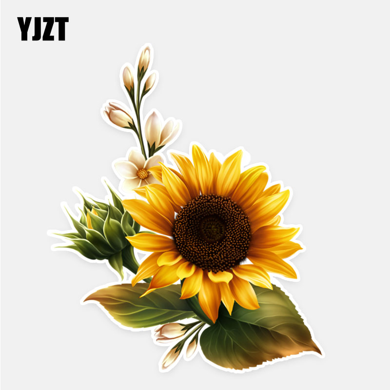 YJZT 11.5*13.7CM Sunflower Decor Flowers Car Stickers High Quality Personalized Colored 11A0725
