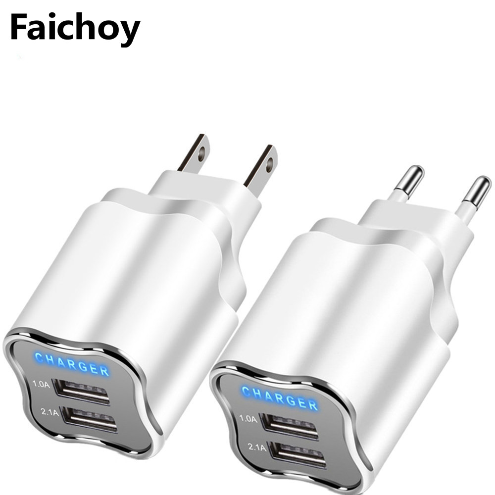 5V 2.1A LED 2 USB Charger Good Wall Charger EU/US Plug Adapter For IPhone 8 7 6 IPad Samsung Huawei Xiaomi Mobile Phone Chargers