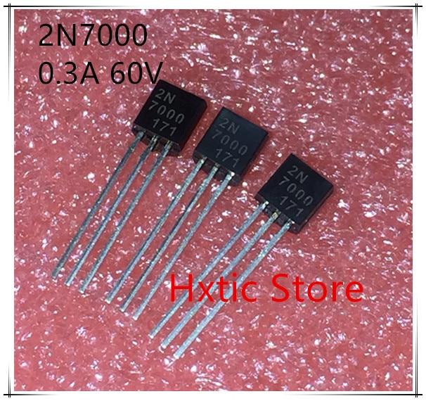 NIEUWE 50 stks/partij N kanaal FET 2N7000 MOS buis TO-92 0.3A/60 V