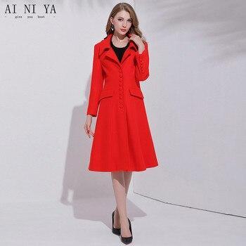 2018 New 65% Wool 35% Polyester Women Autumn Winter Coat Single Breasted S-M-L Women Long Wool Coat