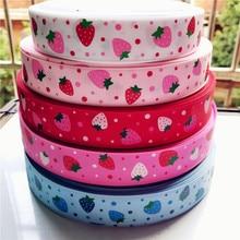 suoja 5y/lot 1 25mm strawberry polyester grosgrain ribbon 5yards,DIY hair bows handmade materials,gift packing wrap