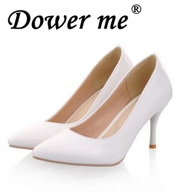 Dower me Big Size 2018 Fashion high heels women pumps thin heel classic  white red nede beige sexy prom wedding shoes 34-45 size 6e12a6d3a2cd