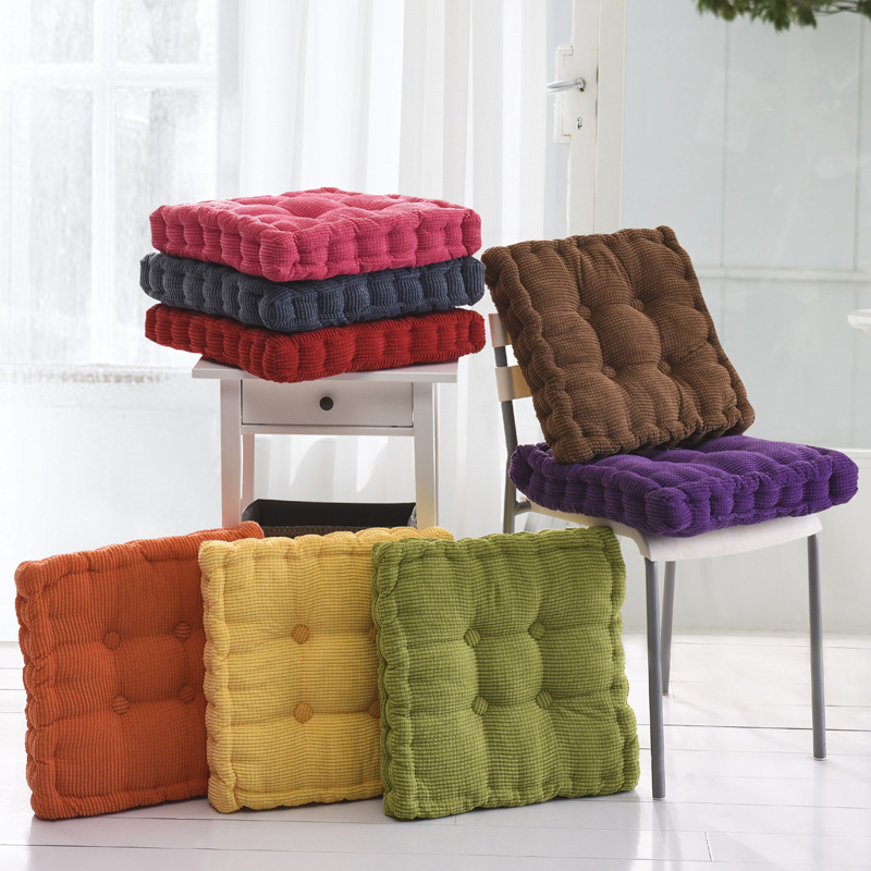 Sunnyrain Thick Corduroy Elastic Chair Cushions For Kitchen Chair Solid Color Seat Cushion