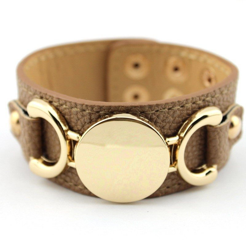 Wholesale Silver & Gold Blank Monogram Leather Wrap Bracelets for Women Fashion Snap Jewelry 29