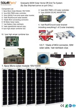 Boguang Solarparts 1x 600W Solar Home off-grid tie systems by sea 6pcs 100W mono solar modules bracket controller DIY kits panel