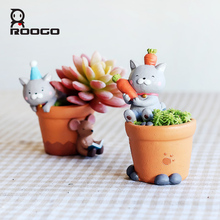 Roogo Mini cartoon cat flowerpot miniature design planters cute little baby desktop flower pots for succulents pot