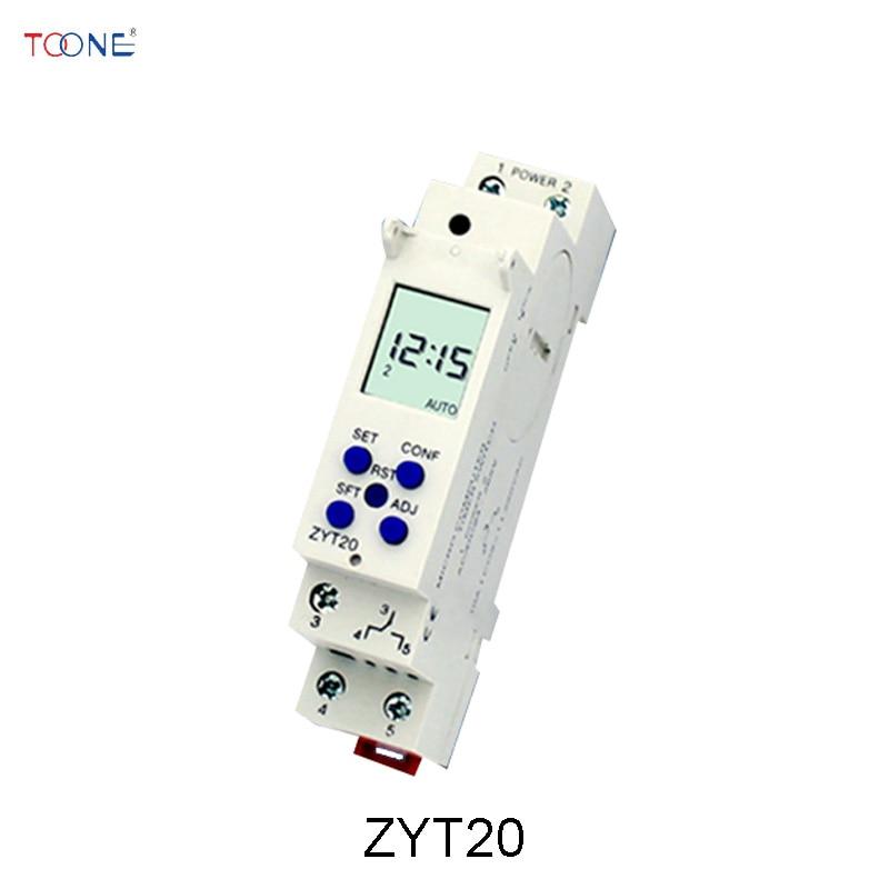 ZYT20 DIN Rail micro computer timer switch AC/DC 24-265V Slim Digital timer 10A 250VAC