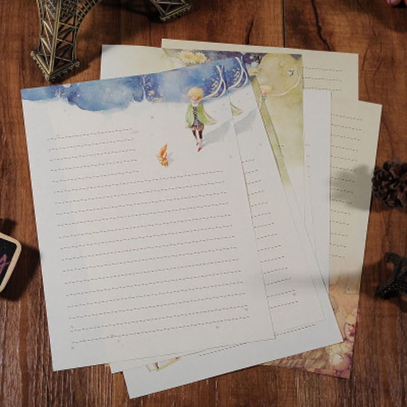 8PCS/Set Cartoon Fairy Tales The Little Prince Retro Four Season Plants Flowers Painting Letter Paper Writing Paper Stationery(China)
