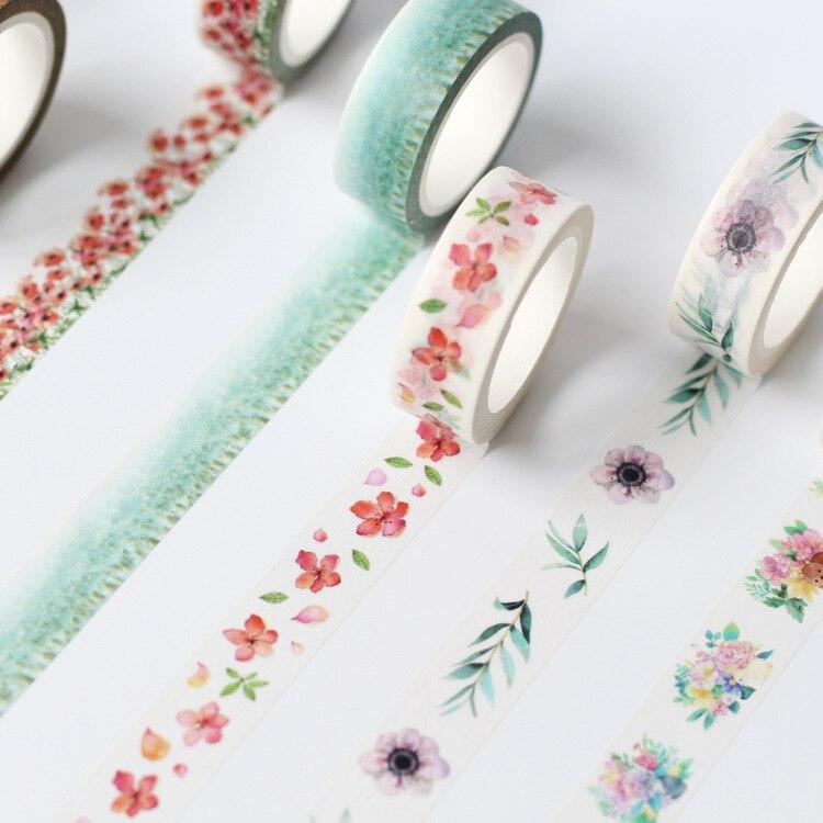 10design Flower & Plant  Kawaii Paper Washi Tape, 7M Long Vintage Notebook DIY Accessory Scrapbooking Masking Tape