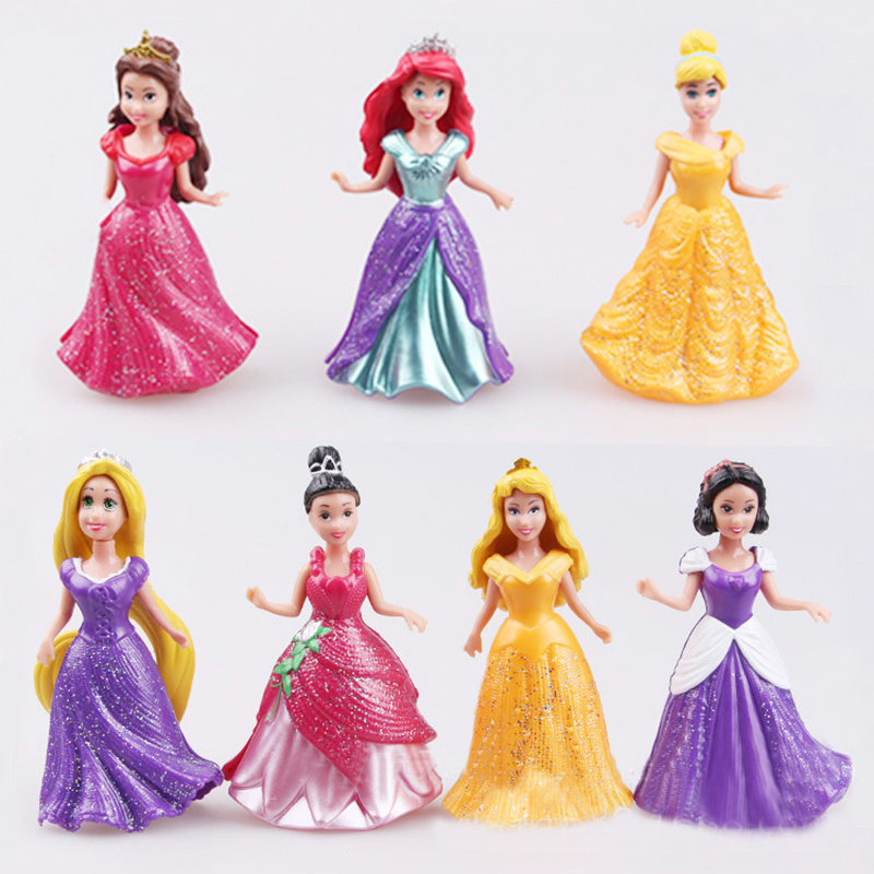 14pcs/set Princess Snow White Cinderella Mermaid Anime PVC Figure Set With Magic Clip Dress Baby Toy Toys For Girls 9cm WJ355 6 pcs set princess snow white cinderella action figures toys cute q version 9cm pvc statue anime collectible dolls kids gift