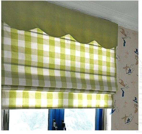 ... Tailor Made Roman Shade Roman Blind Roman Curtain Yarn Dyed Cotton  Cloth Green Grid ...