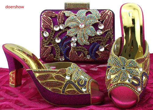 doershow African Style Shoes And Bag To Match High Quality Italian Shoes and Bag Set Nigerian Party Shoe and Bag Set LADYSBL1-10 shoes and bag to match italian matching shoe and bag set african wedding shoes and bag to match for parties doershow hlu1 37