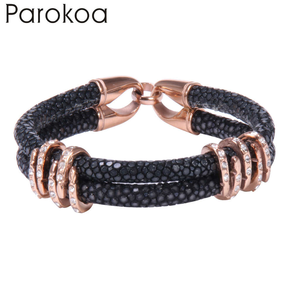 Expensive Charm Bracelets: Trendy Black Leather Bracelet With Rose Gold Stainless