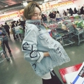 Korea Fashion Cute Ladies Loose Light Blue Printed Denim Jacket Long Sleeve Oversize Wash Casual Jean Jacket Coats for Women