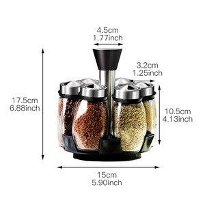 Image 2 - 1 Set Glass Spice Jar Rotating Seasoning Box Salt Sugar Pepper Shaker Condiments Storage Bottle Holder Kitchen Gadget