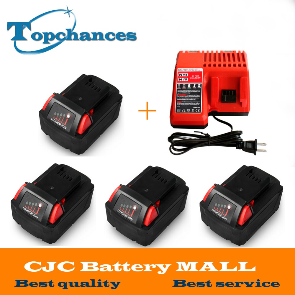 4X High quality 18V Li Ion 4000mAh Replacement Power Tool Battery for Milwaukee M18 XC 48