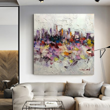 Cityscape wall art oil painting cuadros decoracion abstract knife handgemalte bilder original hand made canvas