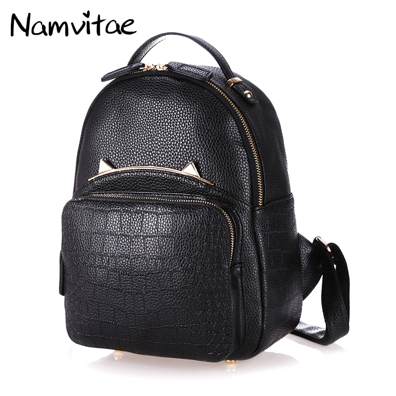 Namvitae Fashion Student Backpack Unisex Preppy Style Girls Leather School bags for Teenagers Kids Cute Cat Women Backpack fashion women pu leather panda backpack teenagers girls cartoon school bags student book bag cute black white patchwork design
