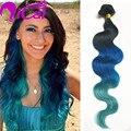 Ombre 3 Tom 1b/Blue/Verde Clipe Em Brasileiro Do Cabelo Remy Virgem Onda Do Corpo Do cabelo 10 pc/set Azul Ombre Grampo No Cabelo Humano extensão