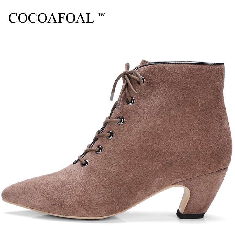 COCOAFOAL Woman Lace Up Ankle Boots Autumn Winter Plus Size 33 - 43 High Heel Shoes Black Green Genuine Leather Pointed Toe Boot odetina fashion genuine leather ankle boots flat woman round toe platform lace up boots autumn winter casual shoes big size 43