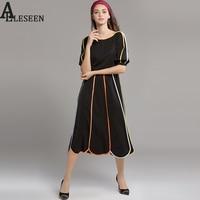 XXL Elegante Midi Kleider Mode Herbst Short Sleeve Lantern Blume Form Kontrast Farbe Blütenblatt Schwarz Hohe Qualität 2017 Top Kleid
