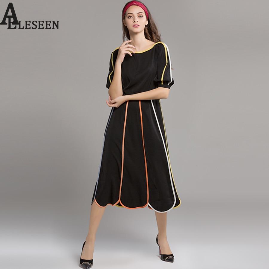 XXL Elegant Midi Dresses Fashion Autumn Short Lantern Sleeve Flower Shape Contrast Color Petal Black High Quality 2017 Top Dress