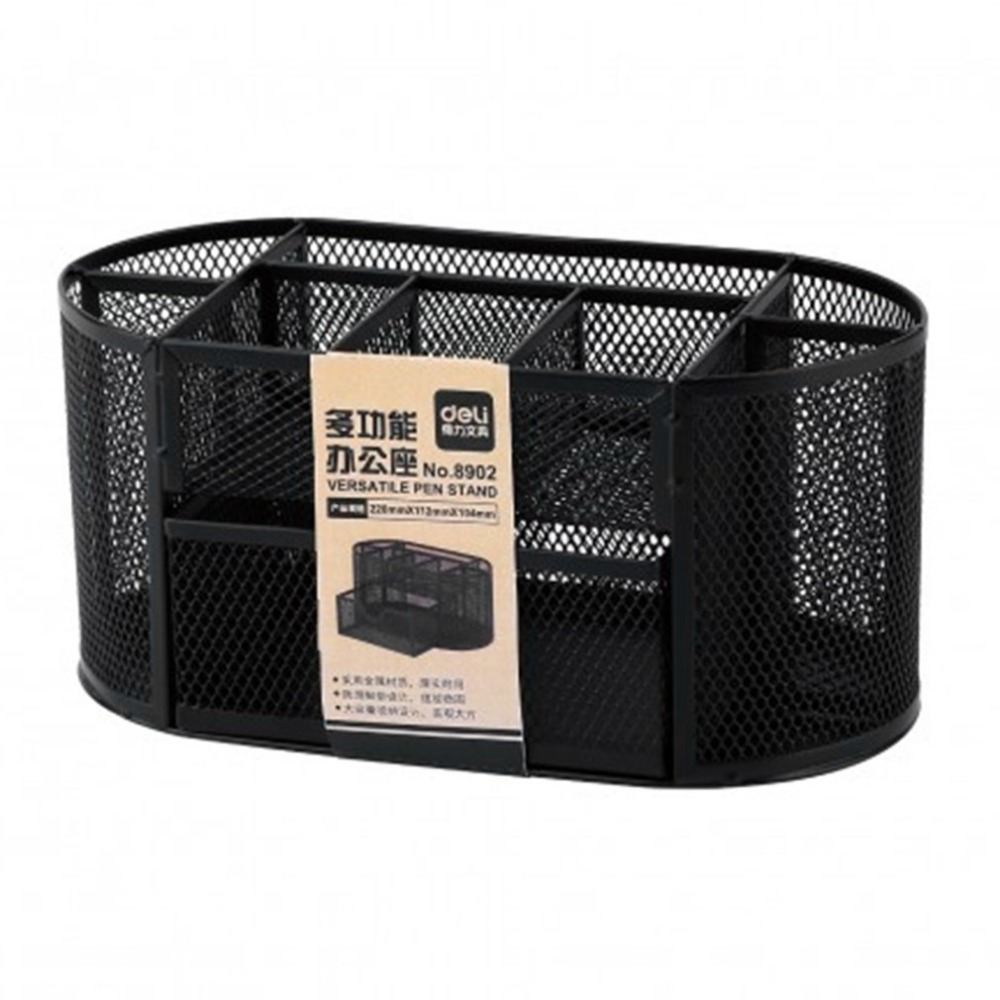 Multifunction Deli Home Office Desktop Mesh Storage Box Case File Holder Organizer Sundries Stationery Stand Container 9 grids metal mesh desk organizer with drawer colorful student home office new supplies desktop stationiery holder