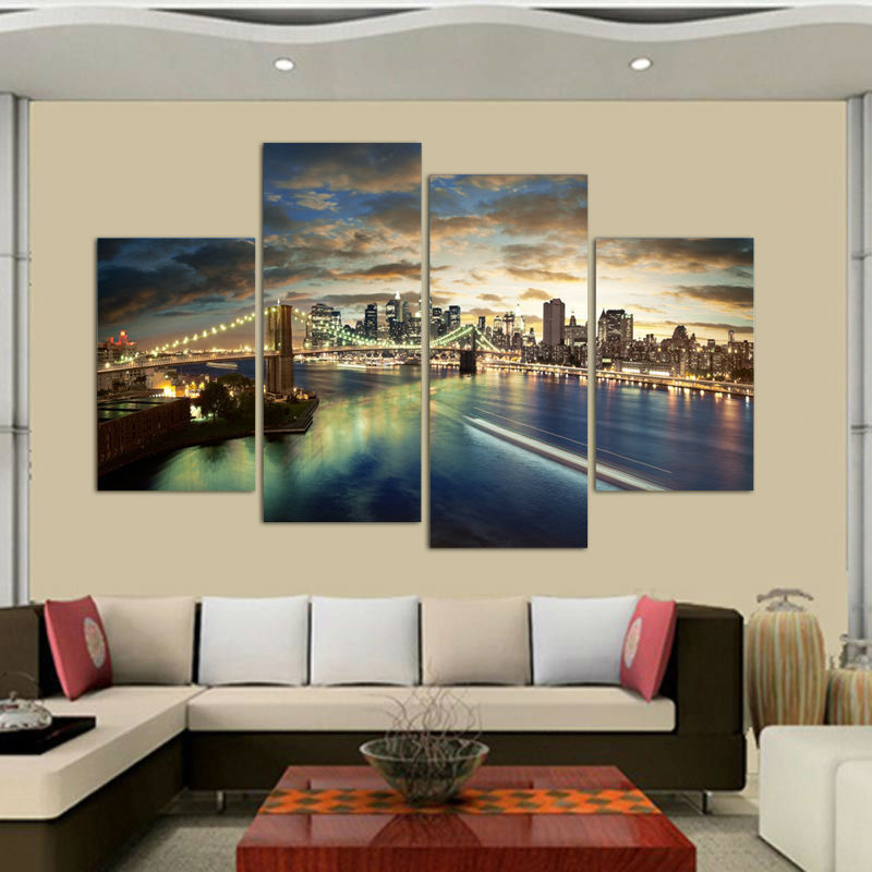 4 Pcs New York Brooklyn Bridge Painting Canvas Wall Art Picture Home Decoration Living Room Gift Pictures For In Calligraphy