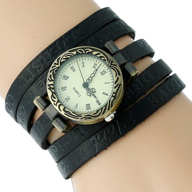 920e44a2f8f Gnova Platina Genuína mulheres De Couro Assistir Hora Motivacional  Envoltório Pulseira relógio de pulso de quartzo