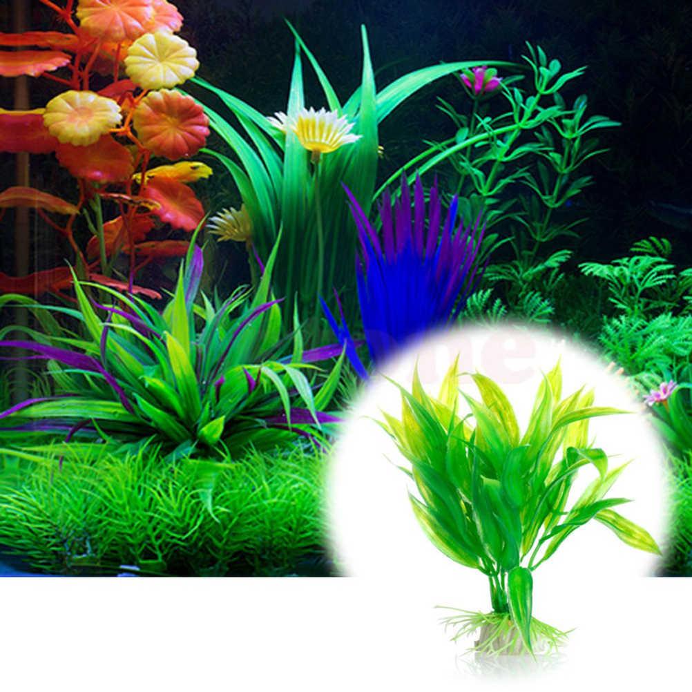 15cm artificial plástico planta de água grama aquário decorações plantas tanque de peixes grama ornamento flor decoração acessórios aquáticos