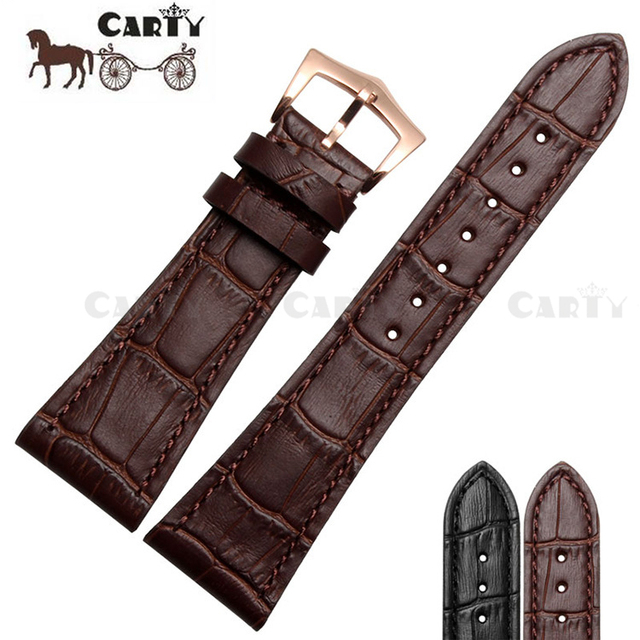 06441c7e7f44 25mm 25 18 High Quality Genuine Leather Black Black Men Watch Strap  Watchband Accessoris for Relojes Hombre