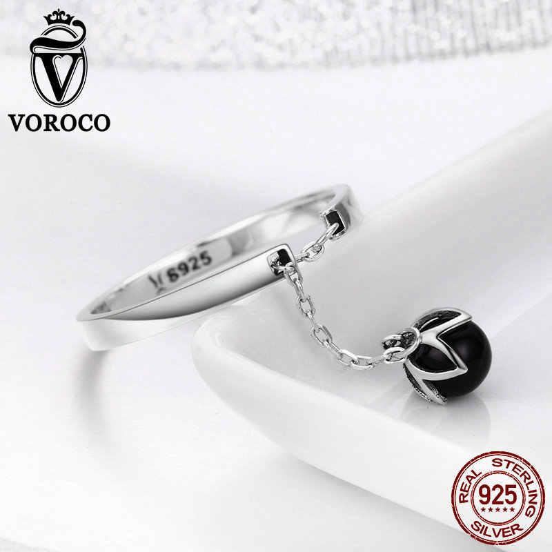 VOROCO รูปดาวจริง 925 เงินสเตอร์ลิงไข่มุกน้ำจืดแหวนโรแมนติกน้ำตาดอกไม้ Dangle เปิด Pearl แหวนผู้หญิงเครื่องประดับ