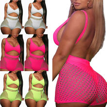 2 pieces Set Women Fishnet Sheer Mesh Playsuit Bodysuit Romper Set