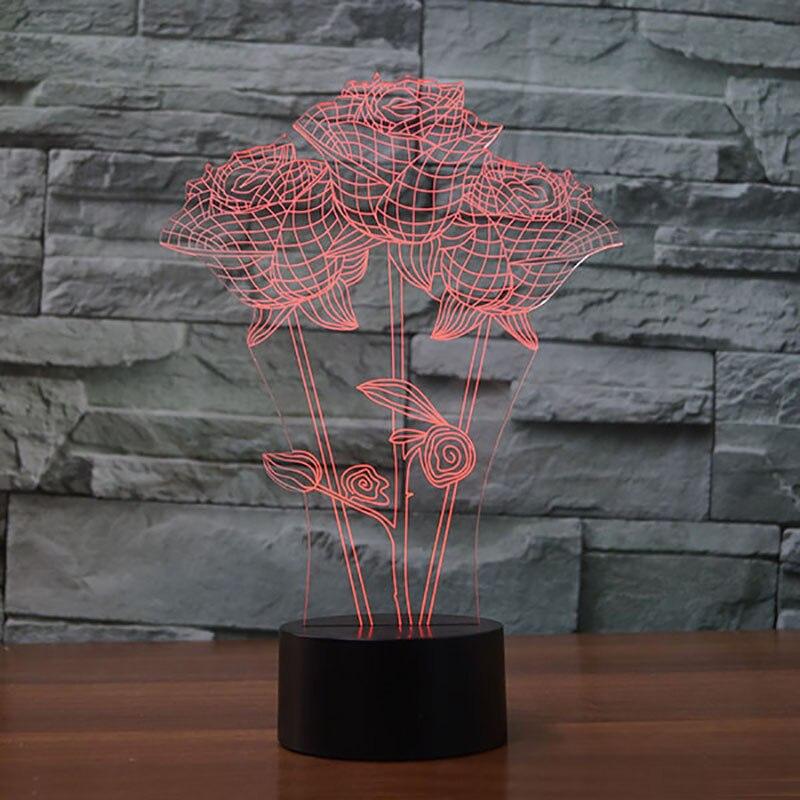 7 цветов изменить 3D свет в ночь розы моделирование настольная лампа для детей прикроватной тумбочке сна Романтический День Святого Валенти...