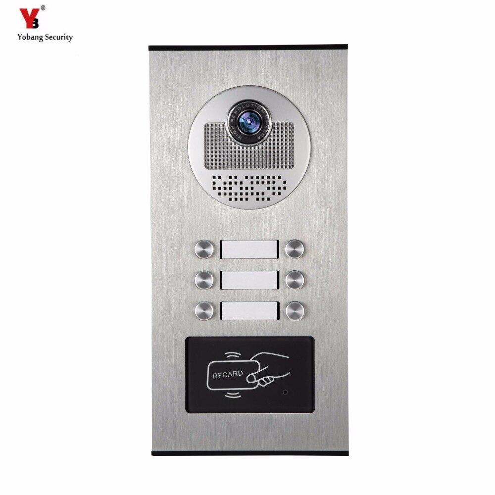 Yobang Security 6 Units Apartment Video Intercom Video Door Phone Outdoor DoorBell IR Camera With Night Vision Can Reader Card