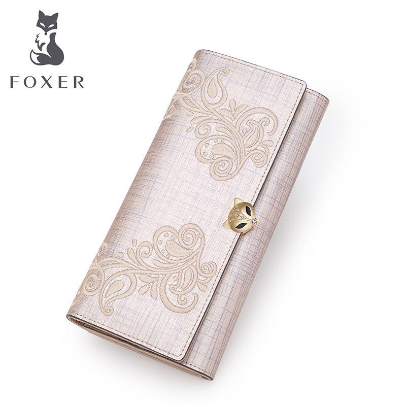 FOXER Brand Women's Leather Wallet Card Holder Clutch Bags Women Fashion Purse Women-Wallet Female Embroidery long Wallets 2016 brand design pu leather wallet women wallets popular purse clutch long bags handbags card holder free shipping j437