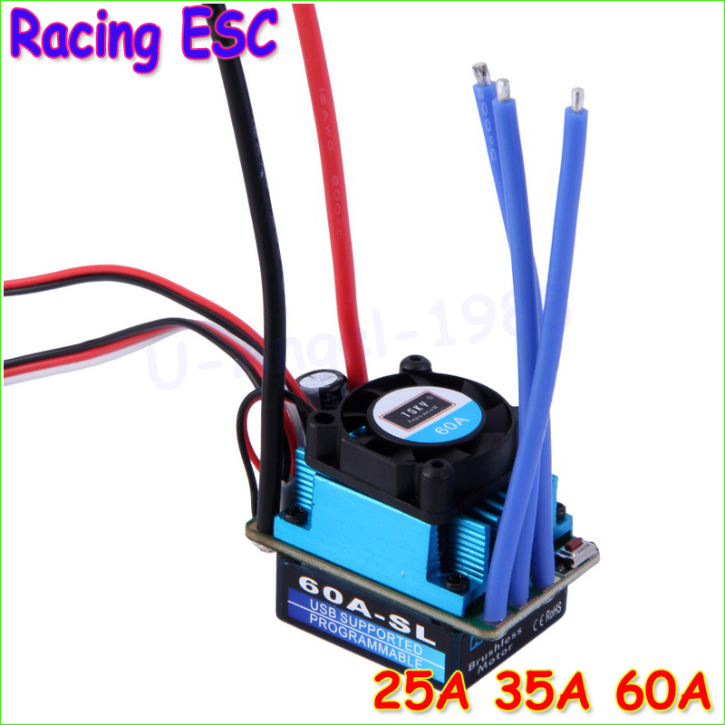 Wholesale 1pcs Racing 25A 35A 60A SL Brushless Speed Controller ESC for RC 1/10 1:10 1:12 Car Truck Drop freeship great hobbyking extreme short course short course brushless motor 120a 2s 4s esc speed controller for 1 8 1 10 suv car