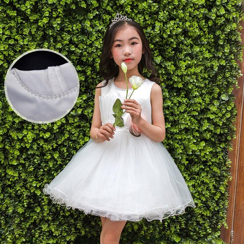0098bce2135824b Нарядное платье для девочек летние Детские платья принцесс для маленьких  девочек белый свадебное платье От 5