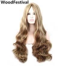 """תמונה אמיתית לוליטה בלונדינית גלית ארוכה 80 ס""""מ חום עמיד פיאה בלונדינית פאה סינתטי לנשים פאות שיער WoodFestival"""