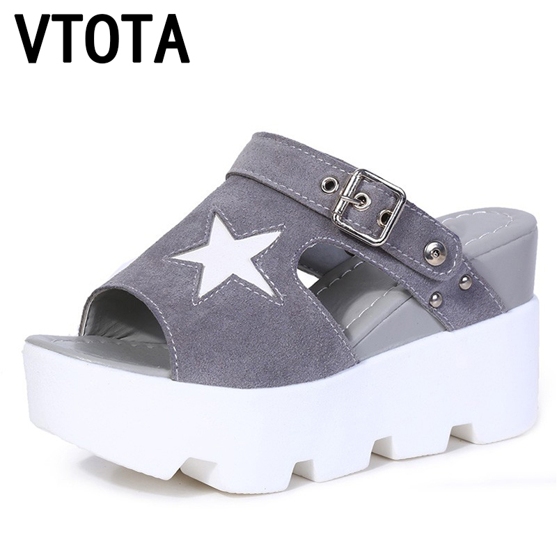 VTOTA Sandals Women 2018 Platform Summer Shoes Open Toes Rome Sandals High Heels Shoes Wedges Sandals Geometric Shoes Women G89