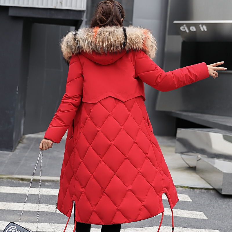Beieuces Zimní bunda Dámské umělé kožešiny s kapucí Parka Dámské dlouhé rukávy Silný teplý sníh Noste bundu Mujer Prošívané topy